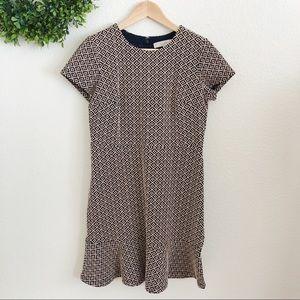 Loft Navy and Cream Geometric Short Sleeve Dress